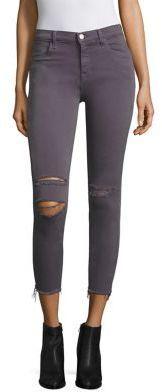 J Brand Alana Photoready Distressed Frayed Hem Cropped Skinny Jeans/Grey Mercy