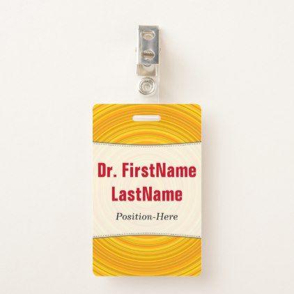 Yellow & Orange Circular Pattern; Customized Name Badge - office ideas diy customize special