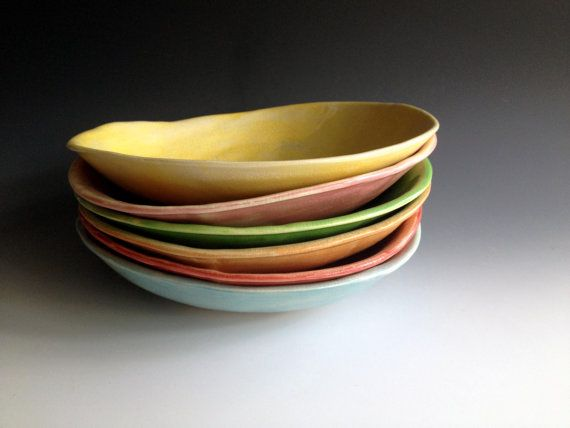 READY TO SHIP Pasta bowls free form by Lesliefreemandesigns