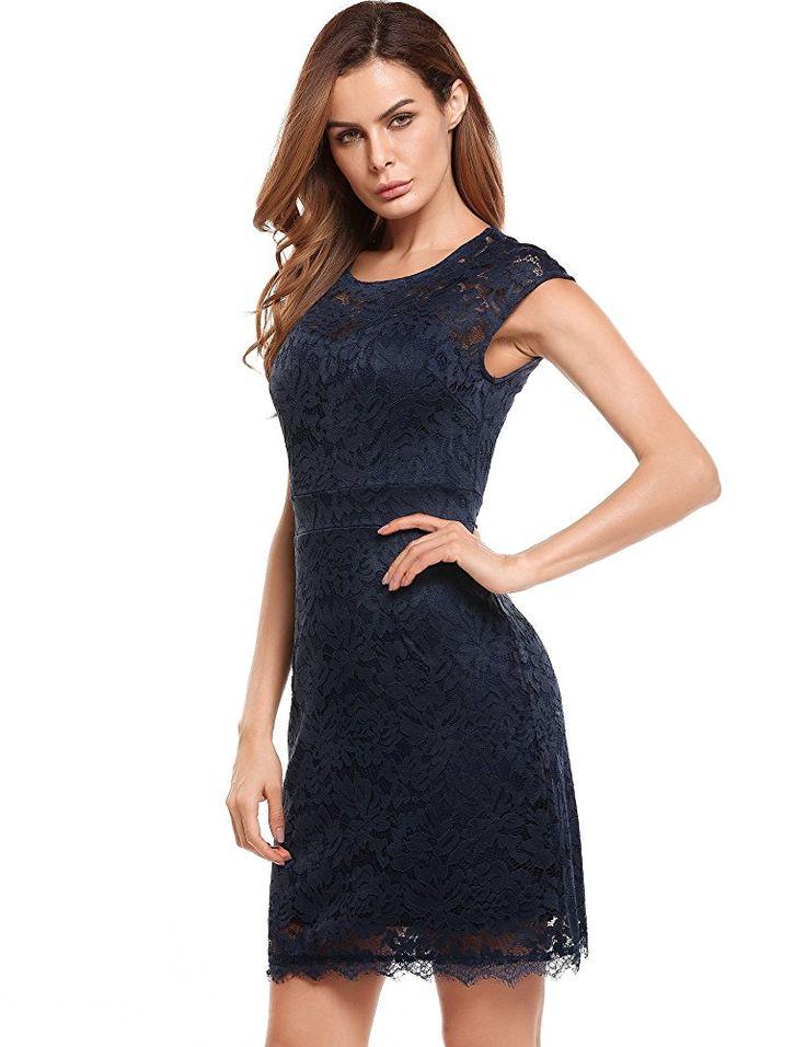 Shoppen Sie Meaneor Damen Elegantes Spitzen Kleid Mini ...