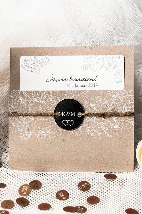 Einladungskarte Hochzeit Rosie Natur Aus Kraftpapier