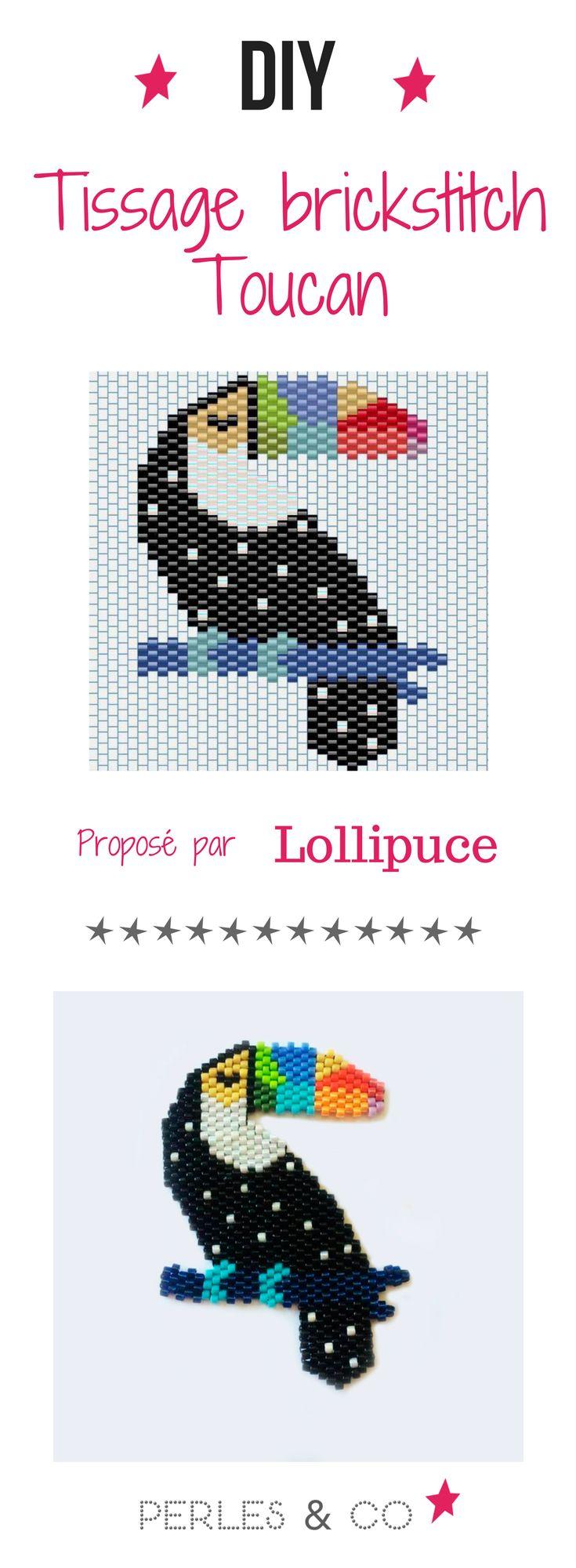 On adore le toucan de @Lollipuce ! Apprenez à le tisser en brick stitch avec la grille de tissage sur notre site...