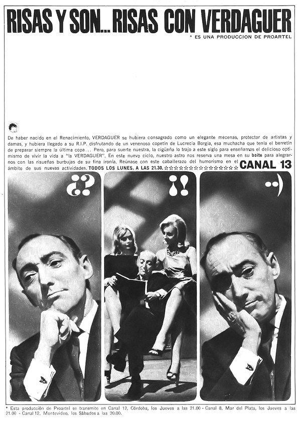 Publicidad de programación de CANAL 13, Buenos Aires, 1963.