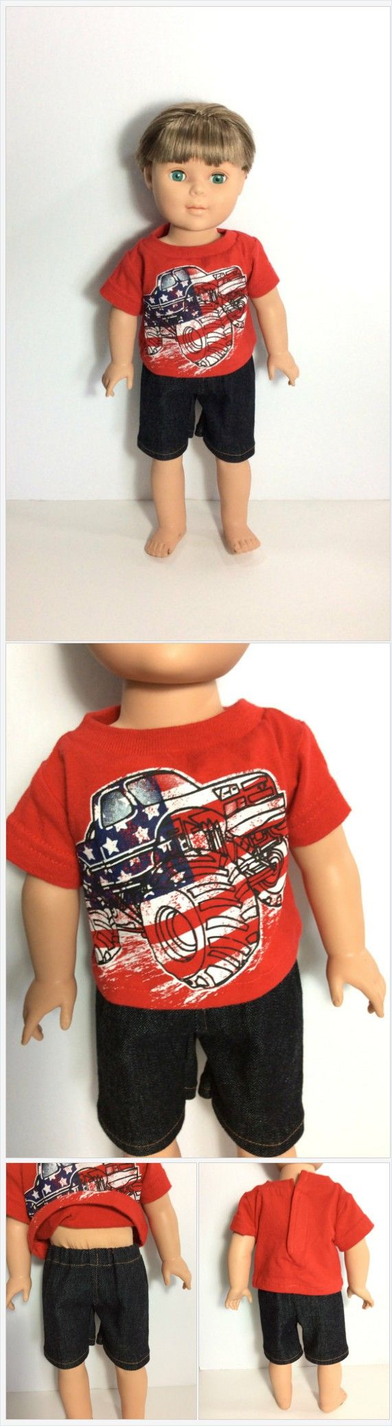 18 Inch Boy Doll Patriotic T-shirt with Jean Shorts, Red Monster Truck Shirt, Black Denim Shorts, 4th of July Shirt, Boy Doll Clothes