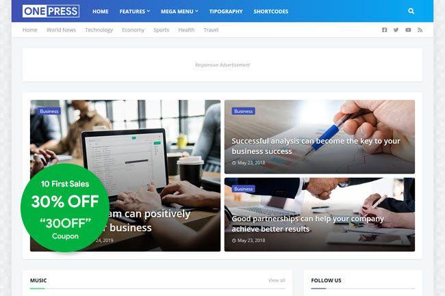 Onepress Blogger Template Premium Gratis Periklanan Desain Majalah