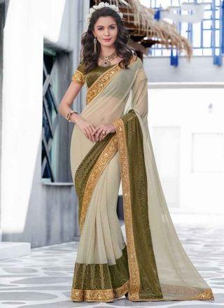 Online Green Beige Embroidery Work Lycra Designer Sarees   http://www.angelnx.com/Sarees/Designer-Sarees