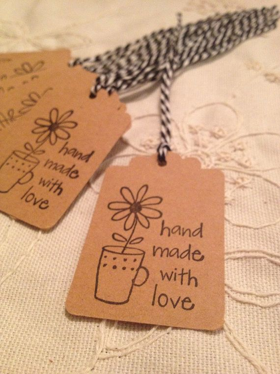 Hand Made With Love Tag SET of 12 Vintage by BirdhouseGiftGallery, $7.20