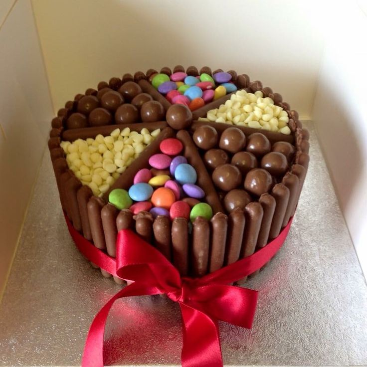Chocolate cake with chocolate buttercream, cadburys fingers, malteasers, smarties and white chocolate chips