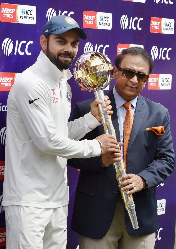 Vinoo Mankad Gave India Selection News to Me, says Gavaskar Cricket legend Sunil Gavaskar (r), seen here presenting ICC 'Number One Team Trophy' to Virat Kohli after India won the test series against Australia at HPCA Stadium in Dharamsala, March 28. (Manvender Vashist/PTI)    @Siliconeer #Siliconeer #India #LegendaryCricketer #SunilGavaskar #SunnyGavaskar #VinooMankad –Former India Cricket Captain Sunil Gavaskar said it was legendary all-rounder http://siliconeer.com/curre