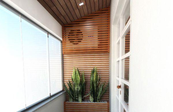 Pared de madera para ocultar el aire acondicionado