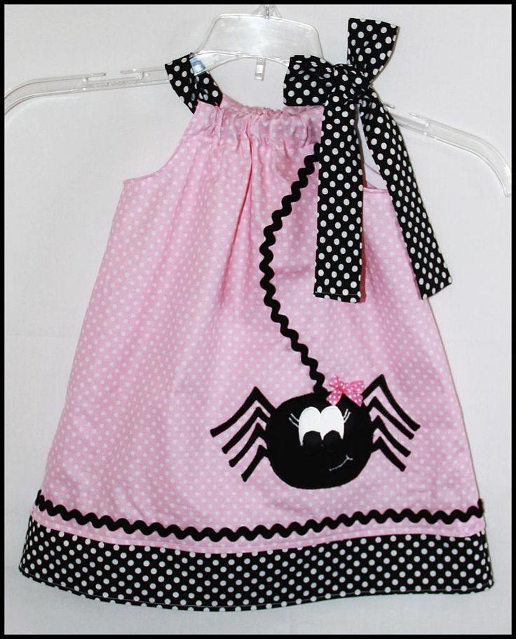 Super Cute Halloween Girly Spider Applique dress