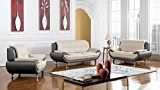 #7: American Eagle Furniture Highland Complete 3 Piece Living Room Leather Sofa Set Light/Dark Gray