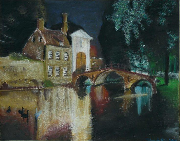 Brugge éjszaka (Pasztell kréta papír)