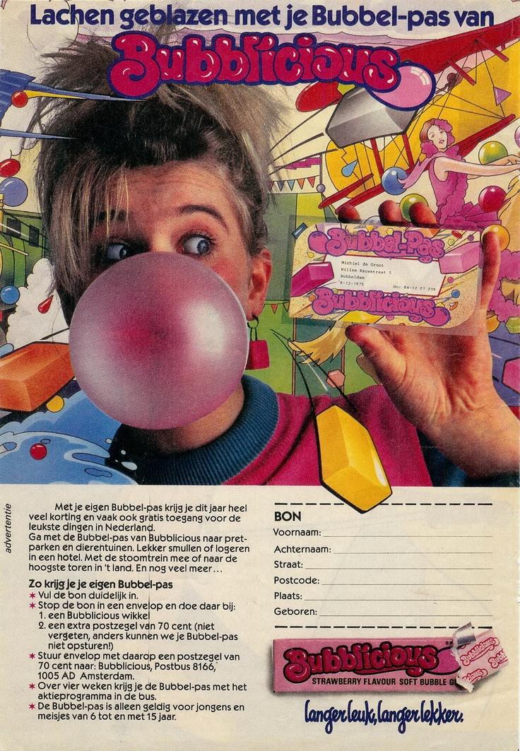 Bubblicious reclame. Mierzoete kauwgum waar je enorme bellen mee kon blazen.