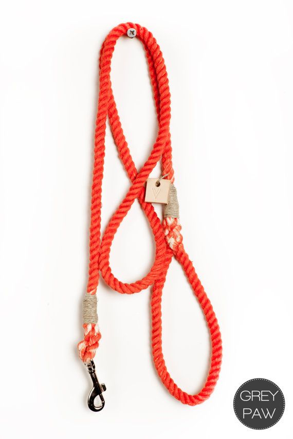 Cotton rope dog leash - dog collar pet accessory dog lead: Small flame red cotton rope leash on Etsy, $35.00