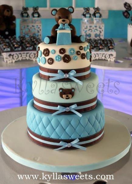 Baby Shower teddy bear cake ~ bolo ursinho cha de bebe by Kyllasweets, via…