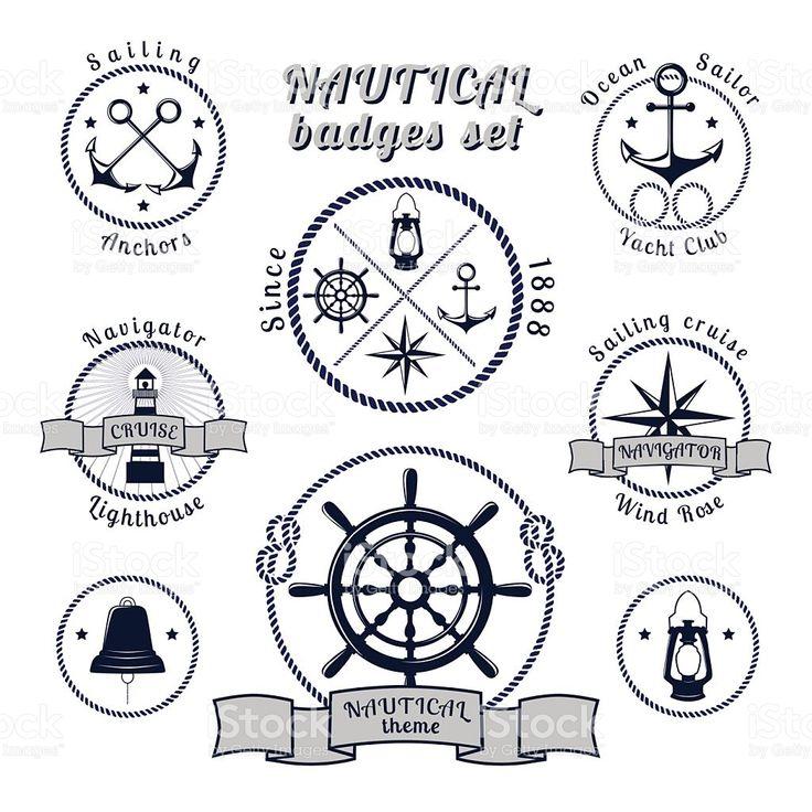 Nautical vintage badges set on white background royalty-free stock vector art