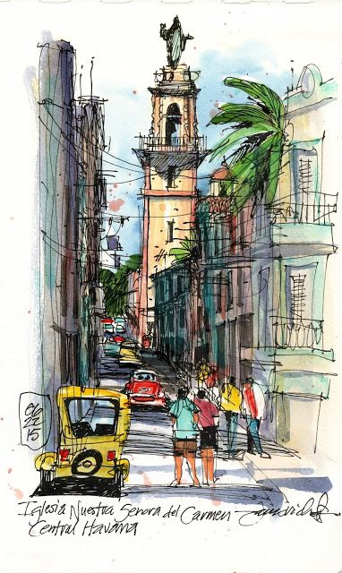 A classic cathedral tower punctuates the pedestrian's view down this narrow street.