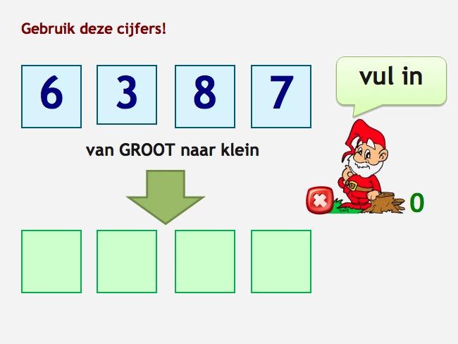 Zet de vier getallen in de goede volgorde van klein naar groot of van groot naar klein. Klik de getallen in de kaders boven aan en klik dan het kader onder. Het getal Ordenen groep 2.