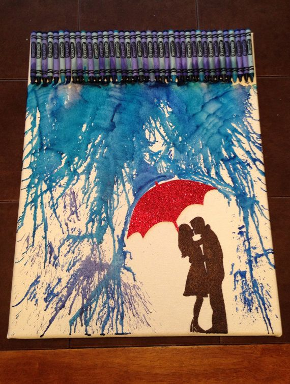 Hey, I found this really awesome Etsy listing at https://www.etsy.com/listing/117547401/melted-crayon-art-romance-in-the-rain