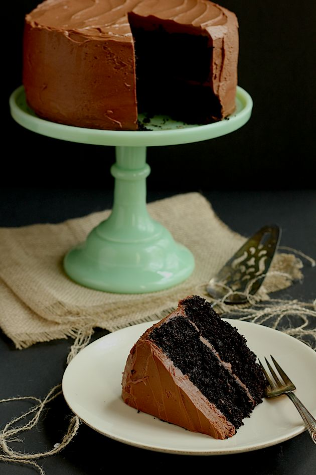 Ina Garten's Chocolate Cake with a semi-sweet chocolate mocha frosting | via Savor Home