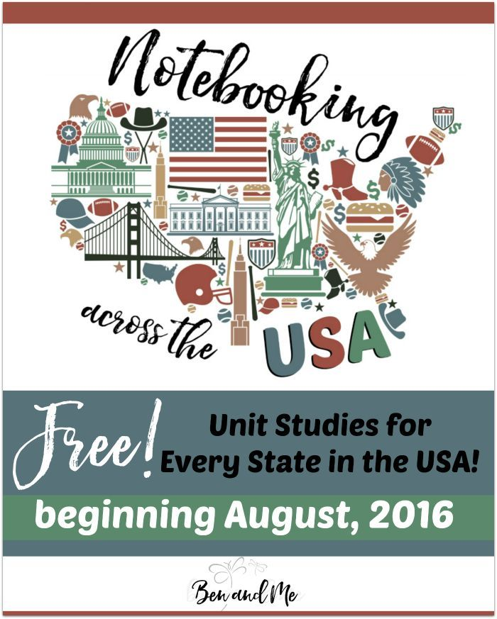 Notebooking Across the USA -- Beginning in August 2016, your homeschool students grades 3-9 can notebook across the USA with these states unit studies.