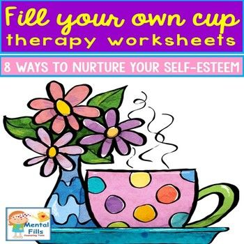 Therapy worksheets include a combination of thought-provoking identity development, feelings and needs identification, goal setting, and self-care planning questions that assist in fostering self-esteem and improving wellbeing. Each worksheet that may be used for
