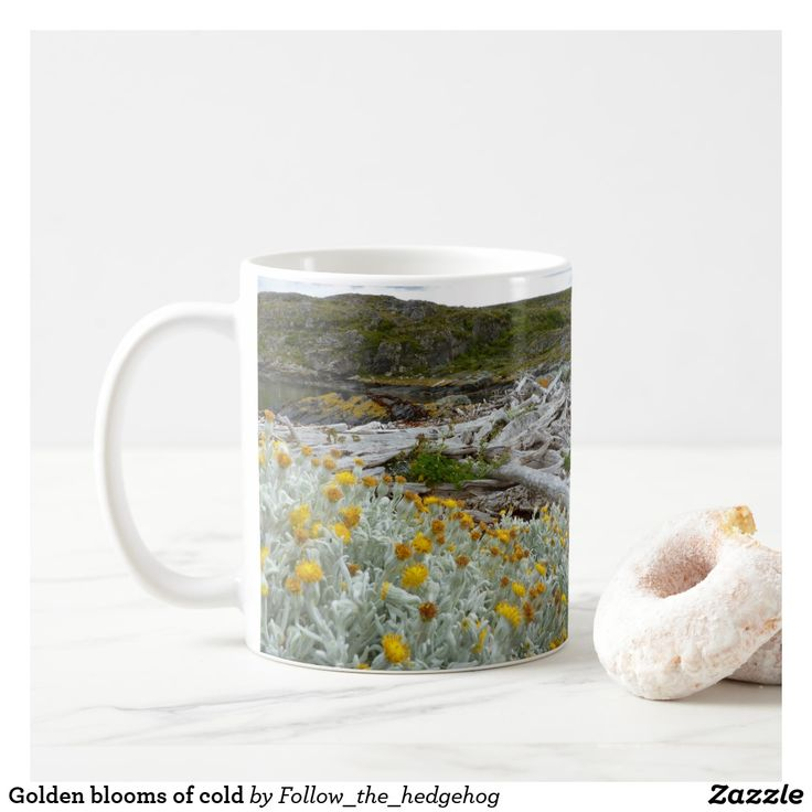 Golden blooms of cold coffee mug Golden blooms of cold on a white bush. Evocative bleached trees next to the dark cold waters of the Beagle Channel. Picture taken in H Island, Ushuaia – Argentina