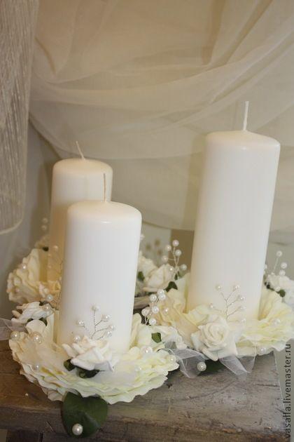 Свадебные аксессуары ручной работы. Ярмарка Мастеров - ручная работа Свадебные свечи Домашний очаг. Handmade.