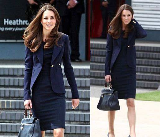 We love Kate Middleton! Here she models perfectly a dress (appropriate length) with suit jacket.  http://careerinsider.blogs.bucknell.edu/2011/04/29/art-history-majors-pay-attention/