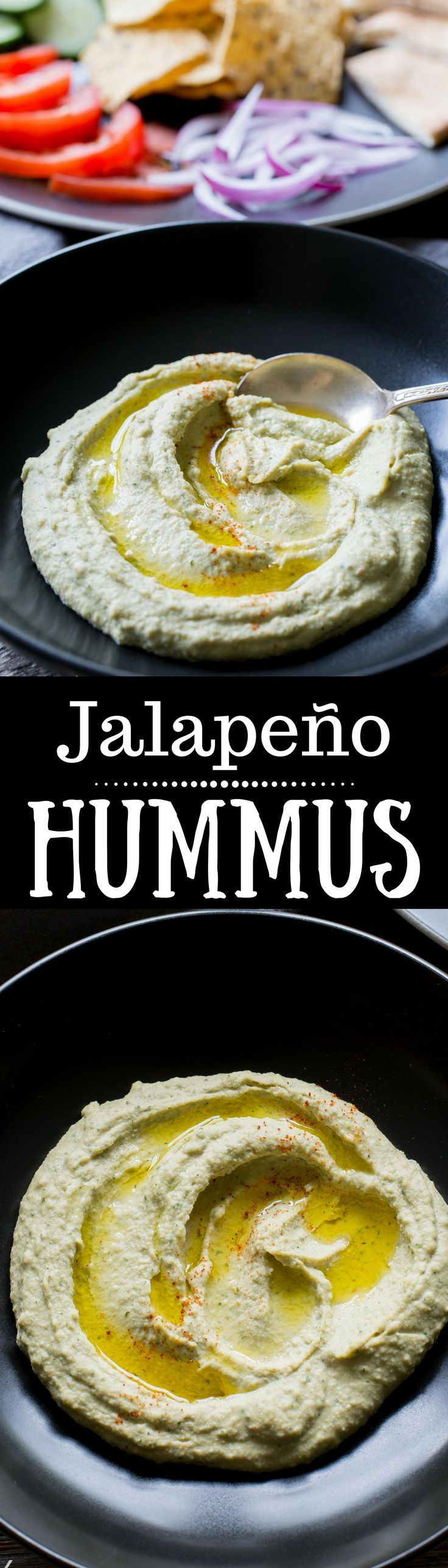 A creamy spicy hummus loaded with flavor from the jalapeño and cilantro. Serve with pita wedges, sliced tomatoes, cucumbers, onions and/or chips |  www.savingdessert.com