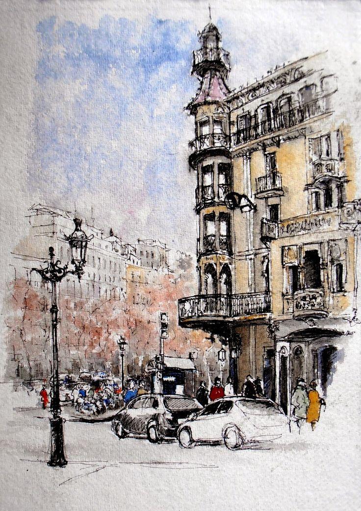Joshemari Larrañaga ACUARELAS: Edificio Casa Pía Batlló - Rambla Cataluña esq. Gran Via