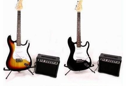 Johnny Brook FULL SIZE SUNBURST COMPLETE ELECTRIC GUITAR PACKAGE INCLUDES 15 WATT AMP