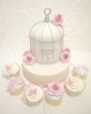 Birdcage themed wedding cake & matching cupcakes to wedding colours.
