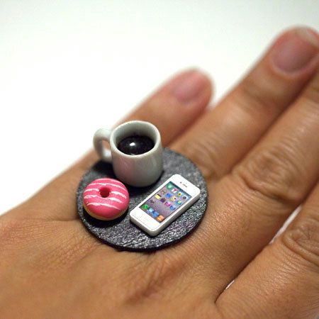 Kawaii Cute Japanese Miniature Food Ring  Day by fingerfooddelight, $12.00