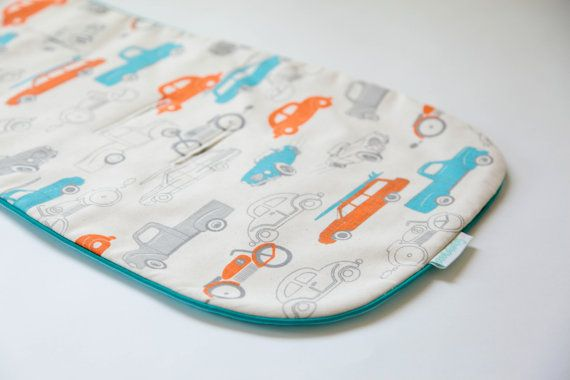 """Universal, Natural and Reversible Pram Liner / Stroller Liner """"Retro Cars"""" cotton with aqua piping for baby boy, Bugaboo, Peg Perego, Inglesina, McLaren designed by strollababy / perfect baby shower gift / organic cotton stroller liner / modern and bright pram liner for baby boy"""