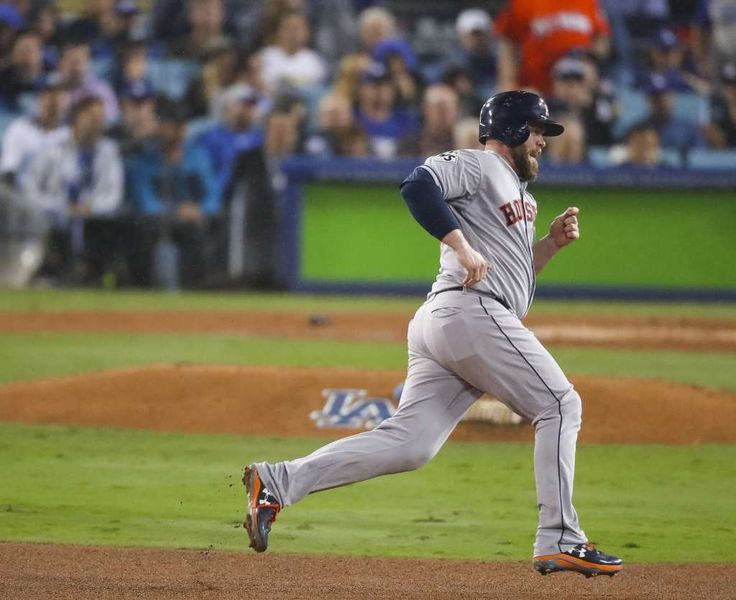October 31, 2017:  Astros lose to Dodgers in Game 6, set up winner-take-all Game 7.   Houston Astros catcher Brian McCann (16) rounds second on a Marwin Gonzalez (9) double during the fifth inning of Game 6 of the World Series at Dodger Stadium on Tuesday, Oct. 31, 2017, in Los Angeles. Photo: Michael Ciaglo/Houston Chronicle