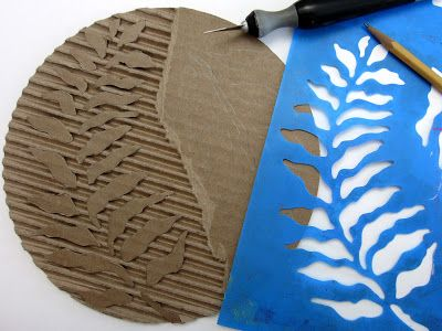Gelli® Printing with DIY Cardboard Texture Plates! You can also trace a stencil onto the cardboard and use that as your guide for carving the cardboard! Cut along the lines and remove the top layer of paper — leaving the areas that are the 'holes' in the stencil — to create your pattern.