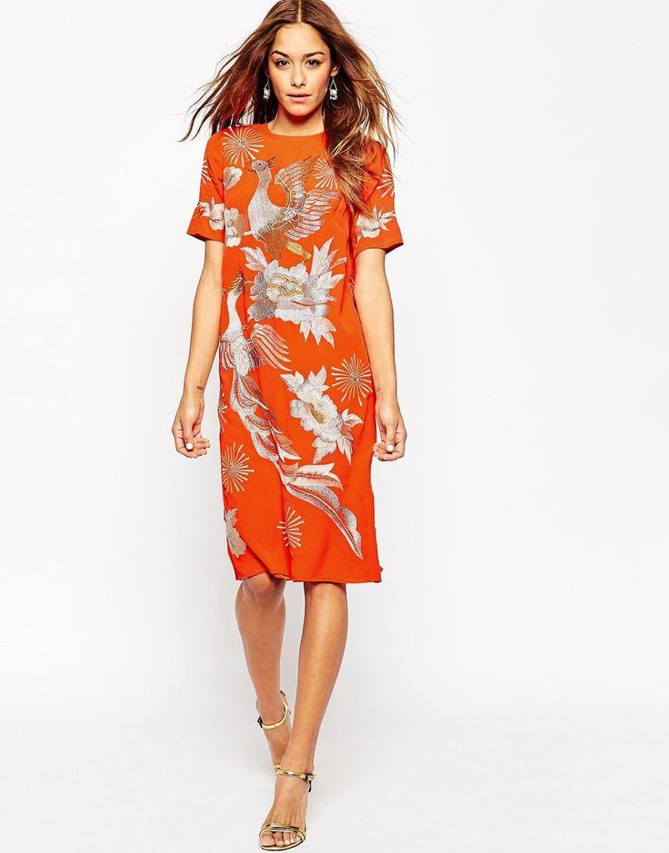 Image 1 ofASOS Bright Orange Fire Bird Midi Shift Dress