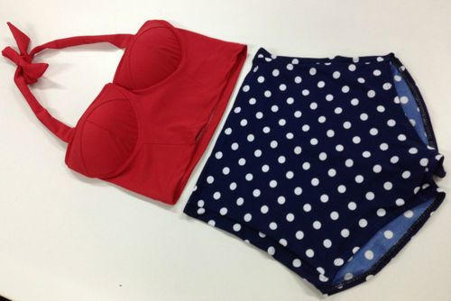 New High Waist Swimwear Bikini Retro Vintage Corset Top and Polka Bottom | eBay