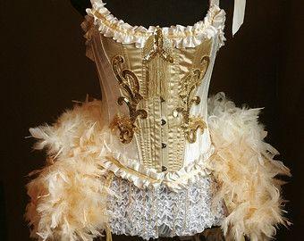 OLYMPIAN oro bianco circo Overbust Corsetto Burlesque Costume 1920 grande Gatsby Abito