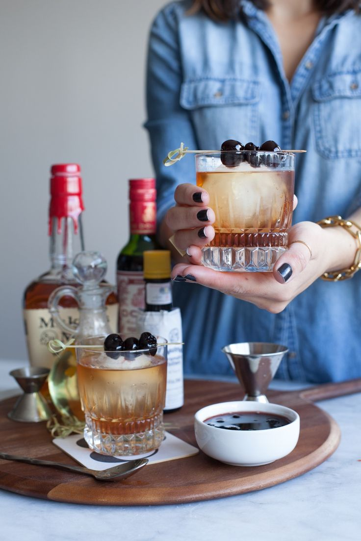 Classic Manhattan cocktail recipe with bourbon soaked cherries via @mystylevita [My Style Vita] - 10
