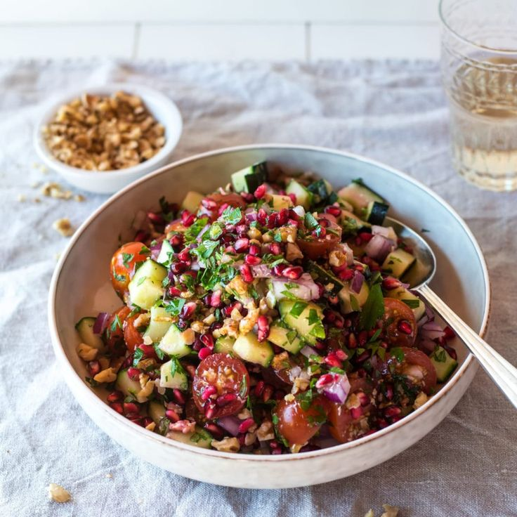 Tomato, Walnut, Mint and Pomegranate Salad By Nadia Lim