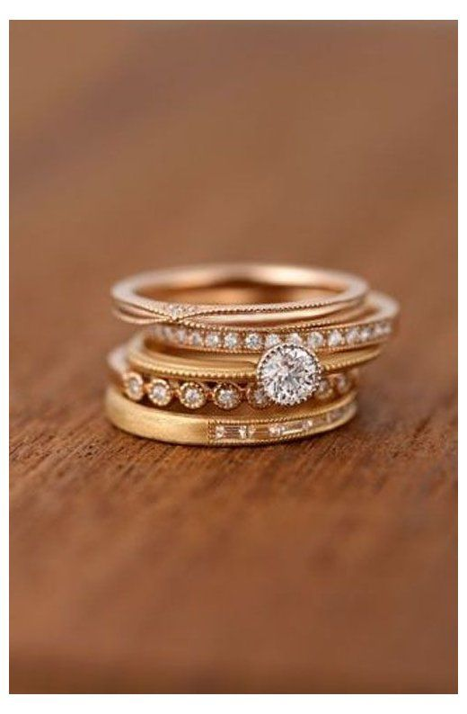 10 Stacked Wedding Rings Worth Obsessing Over Stacked Wedding Rings Birthstone Stacked Wedd In 2020 Stackable Rings Wedding Unique Diamond Rings Cool Wedding Rings