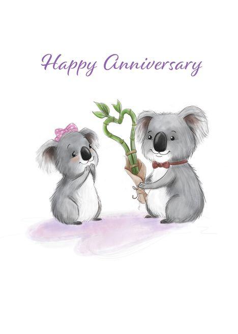 Spouse Wedding Anniversary Cute Koala Bears In Love Card Ad Sponsored Anniversary Cute Spouse Cute Koala Bear Koala Bear Birthday Love
