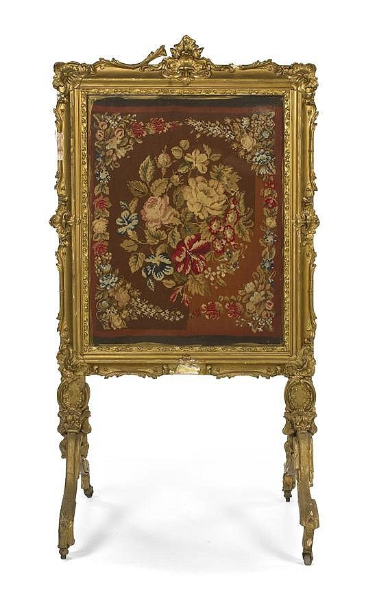 A Louis XV Style Giltwood Firescreen, Height 48 x width 26 i