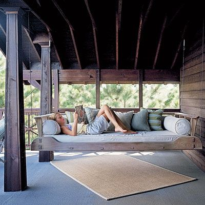 Hanging daybed/ porch swing: Hanging Beds, Decks, Back Porches, Beds Swings, Places, House, Porches Beds, Porches Swings Beds, Front Porches