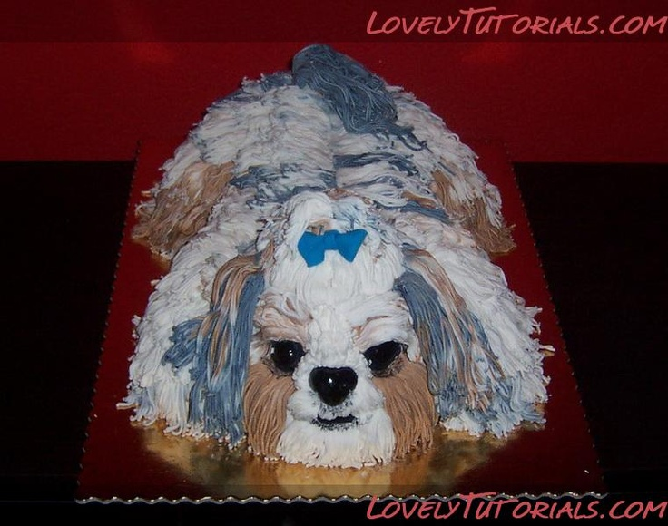 3D carved Shih Tzu dog cake tutorial