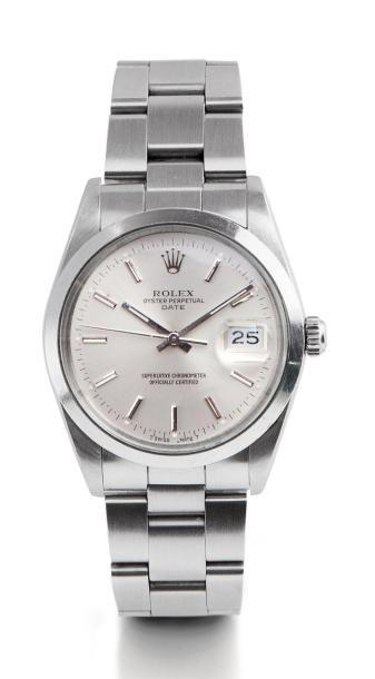 Montre bracelet Rolex Oyster perpetual, date just fond silver, lunette lisse, date rapide, bracelet acier. Dans sa boite et sur-boîte Rolex. Vers 1990. - Brissonneau - 29/05/2015