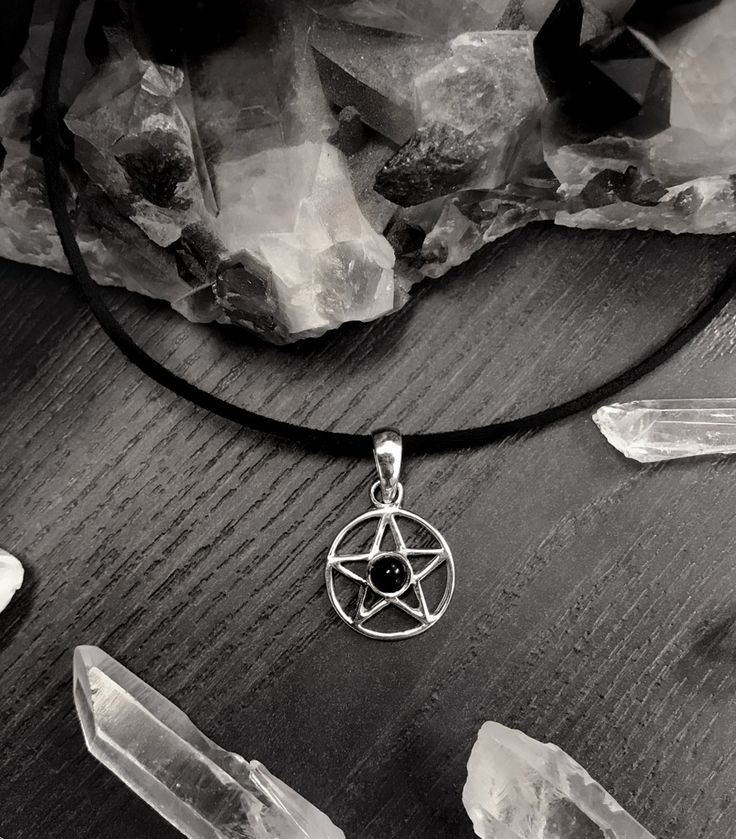 Onyx Sterling Silver Pentagram Choker - We are the Hellaholics